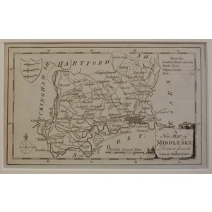 A new and correct map of middlesex - kitchin, 1780
