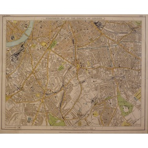 Stanfords map of the county of london - sheet 13 - kennington, camberwell, peckham, brixton,