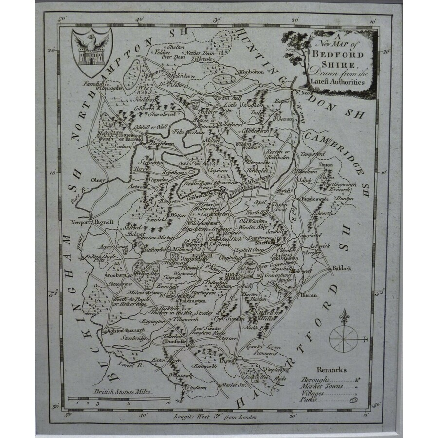 A new map of bedfordshire | Storey's