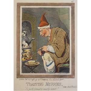 Toasting Muffins and Frying Sprats - Original Antique Copper Engraving By James Gillray, 1851. Se...