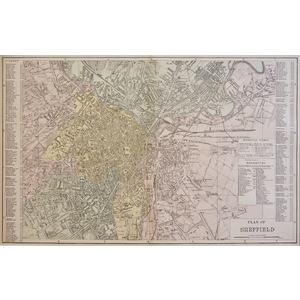 Sheffield, Plan of - Original antique map. Published by G.W. Bacon, 1881 for the