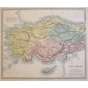 Asia Minor - Original antique map. Engraved by J and C Walker. Published by Edward Stanford, 1874...