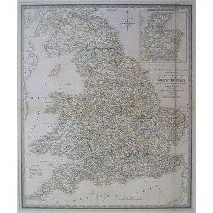 A map of england, wales & scotland, describing all the direct and principal cross roads in great ...