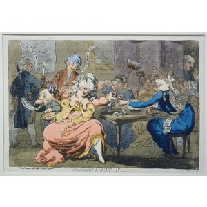 The Injured Countess. Original copper engraving by James Gillray, 1851.