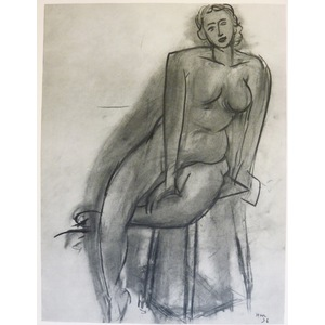 Matisse , Henri - Nude on Stool. Original heliogravure published in 1958 by Teriade for Verve Mag...