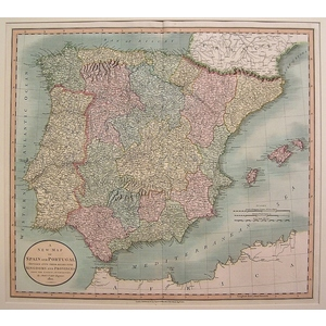 A new map of spain and portugal divided into respective kingdoms and provinces - cary 1806
