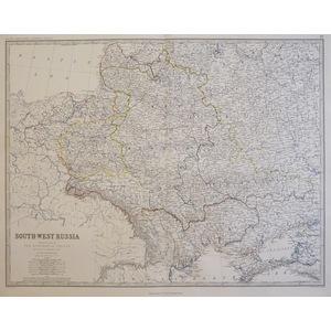 South-West Russia, Showing the Extent of Poland - Original antique steel-plate engraved map.  Wit...