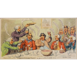 A Birmingham Toast, as given on the 14th July by the Revolution Society - Original Antique Copper...