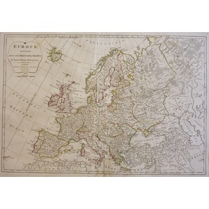 Europe Divided into its Principal States - Original antique copper engraved map by Samuel Dunn  P...