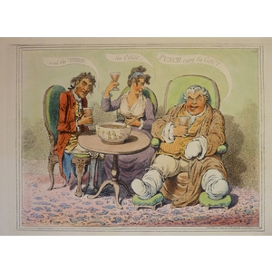 Punch Cures the Gout - an original copper engraving by James Gillray. Hand coloured. Published by...
