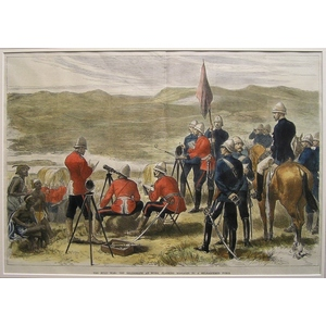 The zulu war: the heliograph at work: finishing messages to a beleaguered force