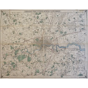 Cruchley, George Frederick (1797-1880)  - Ordnance Map of the Country 14 Miles Around London. Ori...