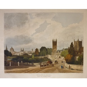 Entrance to oxford - Oxford. Original handcoloured aquatint engraving. Engraved by F C Lewis afte...