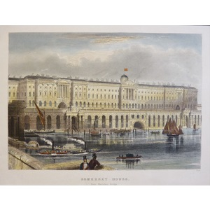 Somerset House, from Waterloo Bridge - Original steel-plate engraving.  Published by T.H. Shepher...