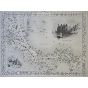 Isthmus of Panama - Original antique steel engraved map.  With original hand-colour.  Published b...