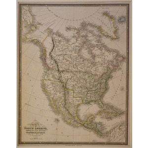 Map of north america exhibiting the recent discoveries - wyld, 1838