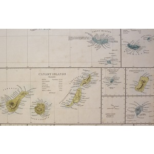 Islands in the Atlantic - Original antique map. Engraved by J and C Walker. Published by Edward S...