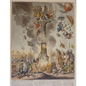SIEGE DE LA COLONNE DE POMPEE. Original copper engraving by James Gillray, 1851.