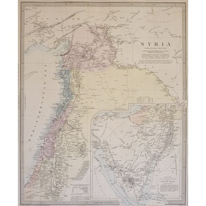 Syria - Original hand coloured antique map. Engraved by J and C Walker. Published by SDUK, 1874  ...