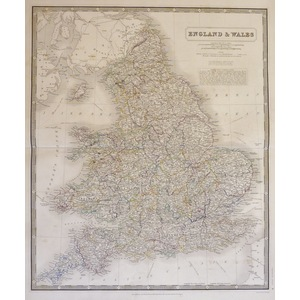 Johnston A. K. - Map of England and Wales 1843. Original antique steel-plate engraving with origi...