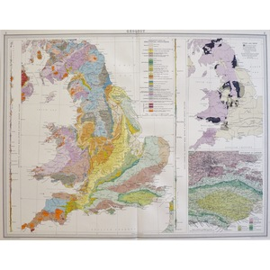 Geology of England and Wales - Original Map. Chromolithograph. Published By Bartholomew & Son, Lo...