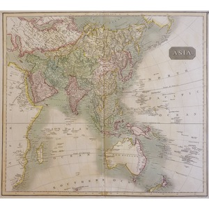 Asia - Original antique copper engraved map with original hand-colouring. Engraved by J & W Menzi...