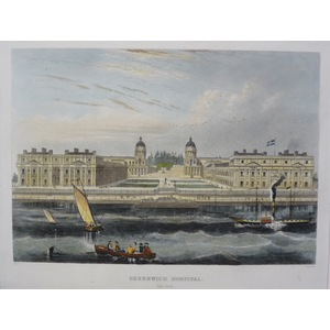 Greenwich Hospital. Original Antique Engraving. Handcoloured. Published For Mighty London, 1858.