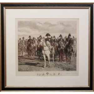 Napoleon And Officers. Original antique copper engraving. Engraved by Alphonse Lamotte after Jean...