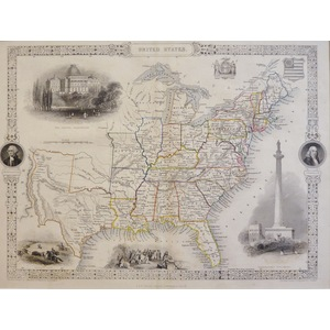 United States - Original antique steel engraved map.  With original hand-colour.  Published by Jo...