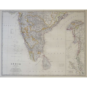 Johnston A. K. - India (Southern Sheet) with Ceylon. Original antique steel-plate engraving with ...