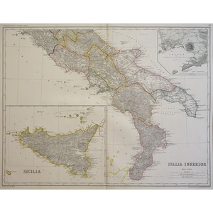Italia Inferior or Southern Italy with Sicily -  Original antique map. Lithograph with original h...