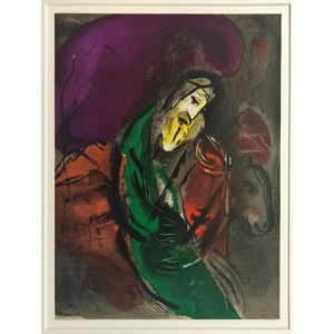 Marc Chagall, Jeremiah, Original colour plate lithograph. Published for the Bible, vol 3, 1956