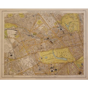 Stanfords map of the county of london - sheet 7 - hyde park, regents park, notting hill, kensingt...