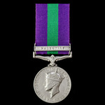 General Service Medal 1918-1962, Geo VI, 1st type bust, clasp: Palestine; (5247814 PTE. F.A. BUDD...