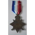1914 Star named to 10451 Private L.G. James, 1st Battalion, Shropshire Light Infantry. Entered Fr...