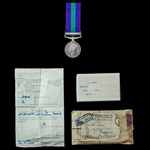 General Service Medal 1918-62, Geo VI, 1st type bust, clasp Palestine awarded to Private W. Ince,...