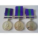 Lot of 3 General Service Medal 1918-62, Eliz II, clasp Cyprus named to a) 23390802 Private C.G. B...
