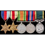 Second World War North Africa campaign Territorial long service group awarded to Sergeant B.L. Si...