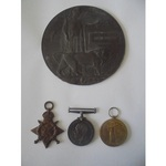 A Mons Trio and Plaque to Private J. Gobbey, 4thBattalion, Royal Fusiliers, who died of wou...