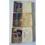 Lot of 3 boxed General Service Medal 1918-62, Eliz II, clasp Cyprus named to a) 22289322 Corporal...