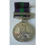 General Service Medal 1918-62, Eliz II, clasp Cyprus named to 23452266 Private B. Porter, Durham ...