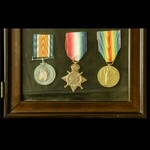 The interesting framed Great War Palestine Third Battle of Gaza Officer Casualty trio and plaque ...