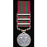 India General Service Medal 1895, VR, in silver, three clasps Punjab Frontier 1897-98, Samana 189...
