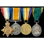 Great War 1914 trio and Territorial Force Efficiency Medal group awarded to Private E.G. Wilding,...