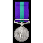 General Service Medal 1918-62, GVI, one clasp: Palestine 1945-48; (14956678 PTE. M. ROUNDS. A.A.C.)