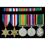Second World War North West Europe and Territorial long service group awarded to Gunner W.G. Stee...