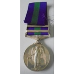 General Service Medal 1918-62, Eliz II, two clasps, Near East and Cyprus named to 23469842 Privat...