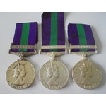 Lot of 3 General Service Medal 1918-62, Eliz II, clasp Cyprus named to a) 23068602 Private B. Tow...
