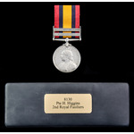 Queens South Africa Medal, two clasps: Cape Colony, Relief of Ladysmith; (8130 PTE. H. HIGGINS, 2...