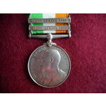 Kings South Africa Medal, two clasps, South Africa 1901 and South Africa 1902 named to 3790 Priva...